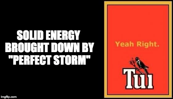"Tui | SOLID ENERGY BROUGHT DOWN BY ""PERFECT STORM"" 