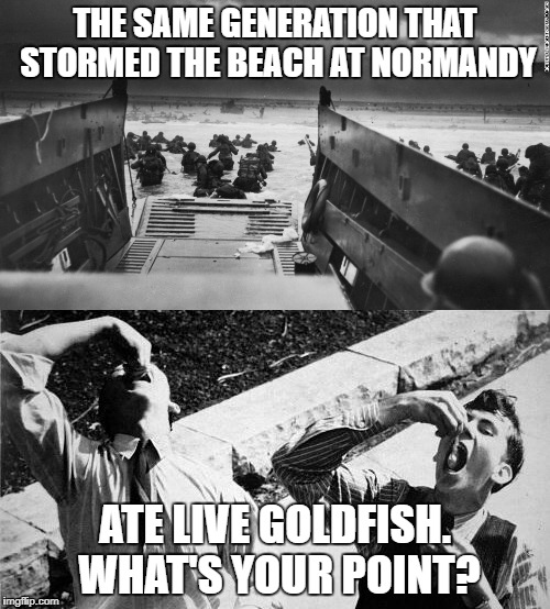 Worked up about Tide pods? | THE SAME GENERATION THAT STORMED THE BEACH AT NORMANDY ATE LIVE GOLDFISH. WHAT'S YOUR POINT? | image tagged in tide pods | made w/ Imgflip meme maker