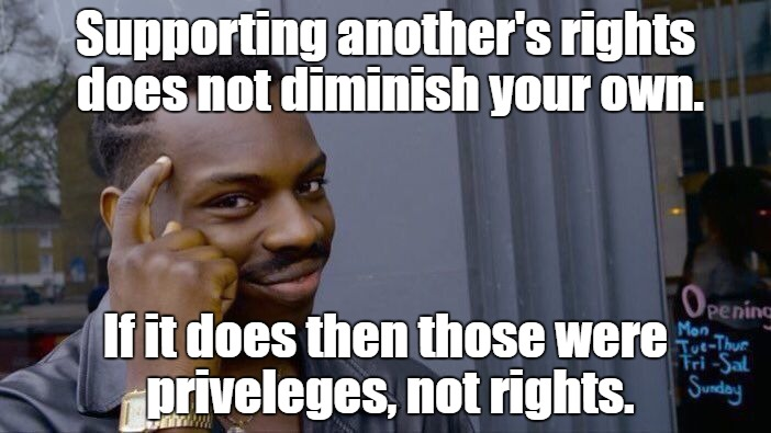 Roll Safe Think About It Meme | Supporting another's rights does not diminish your own. If it does then those were priveleges, not rights. | image tagged in memes,roll safe think about it | made w/ Imgflip meme maker