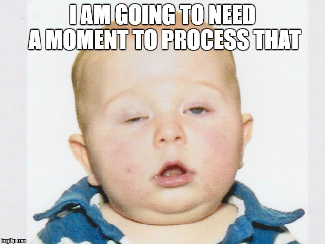 Stoner Baby | I AM GOING TO NEED A MOMENT TO PROCESS THAT | image tagged in stoner baby | made w/ Imgflip meme maker