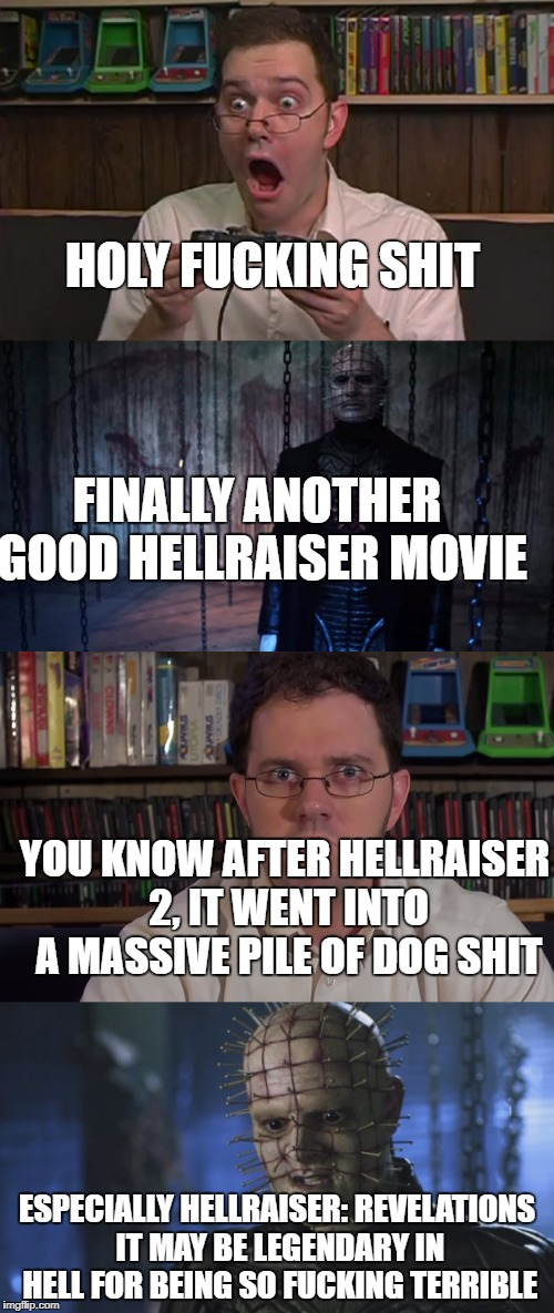 HOLY F**KING SHIT ESPECIALLY HELLRAISER: REVELATIONS IT MAY BE LEGENDARY IN HELL FOR BEING SO F**KING TERRIBLE YOU KNOW AFTER HELLRAISER 2,  | image tagged in avgn,hellraiser | made w/ Imgflip meme maker