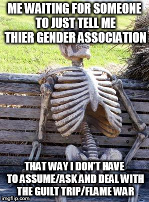 your androgynous until you let me know | ME WAITING FOR SOMEONE TO JUST TELL ME THIER GENDER ASSOCIATION THAT WAY I DON'T HAVE TO ASSUME/ASK AND DEAL WITH THE GUILT TRIP/FLAME WAR | image tagged in memes,waiting skeleton | made w/ Imgflip meme maker