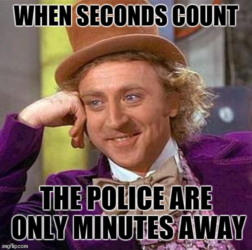 Creepy Condescending Wonka Meme | WHEN SECONDS COUNT THE POLICE ARE ONLY MINUTES AWAY | image tagged in memes,creepy condescending wonka | made w/ Imgflip meme maker