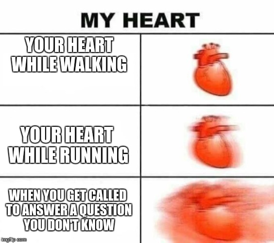 the heart | YOUR HEART WHILE WALKING YOUR HEART WHILE RUNNING WHEN YOU GET CALLED TO ANSWER A QUESTION YOU DON'T KNOW | image tagged in my heart blank,memes,school,teacher | made w/ Imgflip meme maker