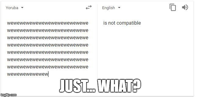 JUST... WHAT? | image tagged in google translate is broken | made w/ Imgflip meme maker