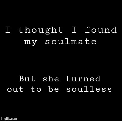 Blank |  I thought I found my soulmate; But she turned out to be soulless | image tagged in blank | made w/ Imgflip meme maker