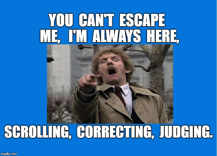 Trolling | YOU  CAN'T  ESCAPE  ME,   I'M  ALWAYS  HERE, SCROLLING,  CORRECTING,  JUDGING. | image tagged in judging,meme | made w/ Imgflip meme maker