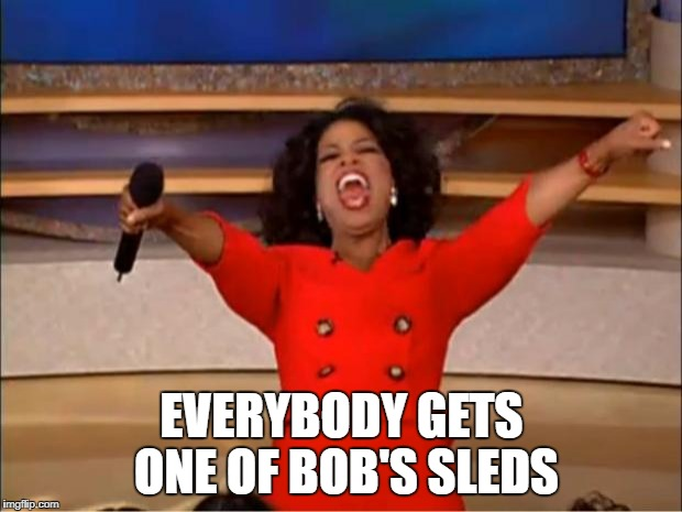 Oprah You Get A Meme | EVERYBODY GETS ONE OF BOB'S SLEDS | image tagged in memes,oprah you get a | made w/ Imgflip meme maker