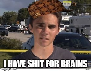 I HAVE SHIT FOR BRAINS | image tagged in hogg,scumbag | made w/ Imgflip meme maker