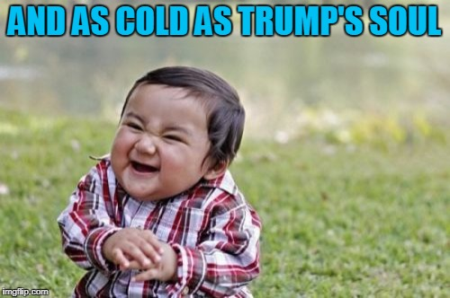 Evil Toddler Meme | AND AS COLD AS TRUMP'S SOUL | image tagged in memes,evil toddler | made w/ Imgflip meme maker