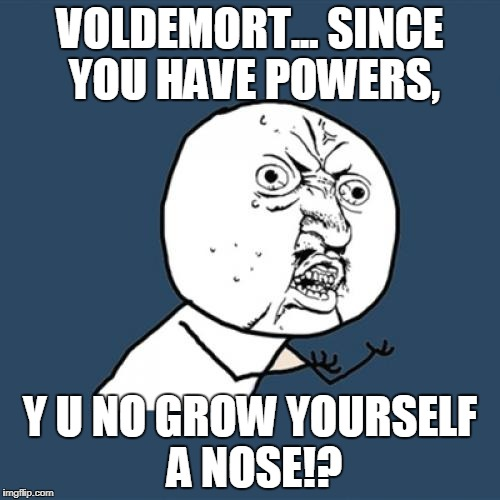 Pretty much what someone would call a roast on Voldemort. | VOLDEMORT... SINCE YOU HAVE POWERS, Y U NO GROW YOURSELF A NOSE!? | image tagged in memes,y u no | made w/ Imgflip meme maker