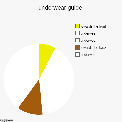 yellow in front brown in back | underwear guide | underwear, towards the back, underwear, underwear, towards the front | image tagged in funny,pie charts | made w/ Imgflip pie chart maker