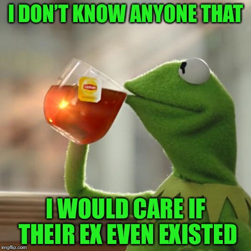 But Thats None Of My Business Meme | I DON'T KNOW ANYONE THAT I WOULD CARE IF THEIR EX EVEN EXISTED | image tagged in memes,but thats none of my business,kermit the frog | made w/ Imgflip meme maker