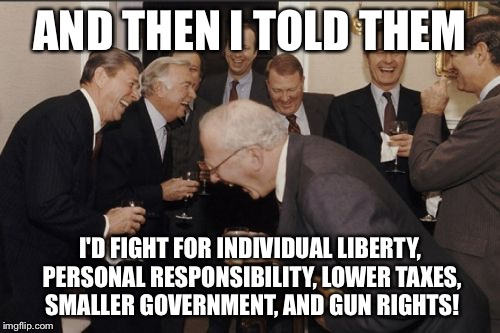 Conservative in name only | AND THEN I TOLD THEM I'D FIGHT FOR INDIVIDUAL LIBERTY, PERSONAL RESPONSIBILITY, LOWER TAXES, SMALLER GOVERNMENT, AND GUN RIGHTS! | image tagged in memes,laughing men in suits,republicans,gun control | made w/ Imgflip meme maker