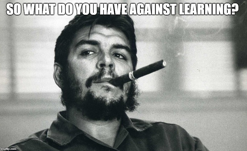 Che | SO WHAT DO YOU HAVE AGAINST LEARNING? | image tagged in che | made w/ Imgflip meme maker
