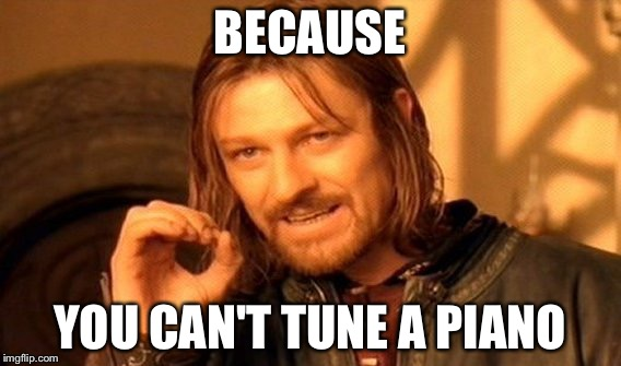 One Does Not Simply Meme | BECAUSE YOU CAN'T TUNE A PIANO | image tagged in memes,one does not simply | made w/ Imgflip meme maker