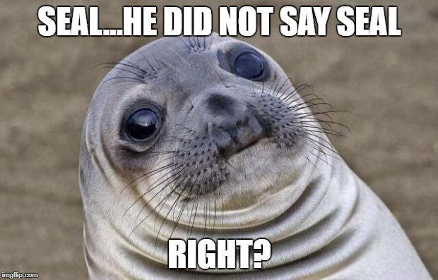 Awkward Moment Sealion Meme | SEAL...HE DID NOT SAY SEAL RIGHT? | image tagged in memes,awkward moment sealion | made w/ Imgflip meme maker