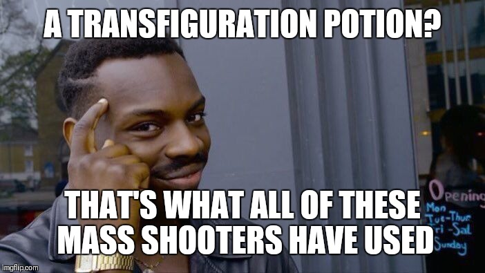 Roll Safe Think About It Meme | A TRANSFIGURATION POTION? THAT'S WHAT ALL OF THESE MASS SHOOTERS HAVE USED | image tagged in memes,roll safe think about it | made w/ Imgflip meme maker