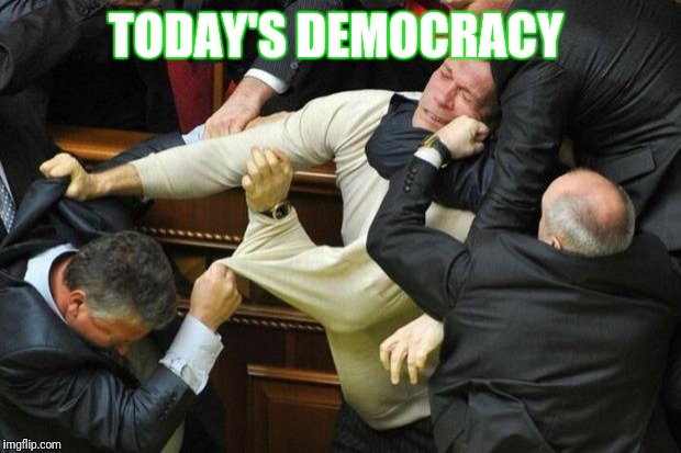 Fight | TODAY'S DEMOCRACY | image tagged in fight,politics,kids these days,democracy,congress | made w/ Imgflip meme maker