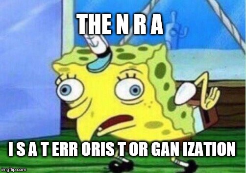 Mocking Spongebob Meme | THE N R A I S A T ERR ORIS T OR GAN IZATION | image tagged in memes,mocking spongebob | made w/ Imgflip meme maker