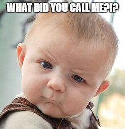 Skeptical Baby Meme | WHAT DID YOU CALL ME?!? | image tagged in memes,skeptical baby | made w/ Imgflip meme maker