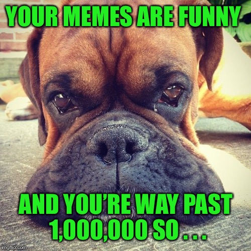 YOUR MEMES ARE FUNNY AND YOU'RE WAY PAST 1,000,000 SO . . . | made w/ Imgflip meme maker