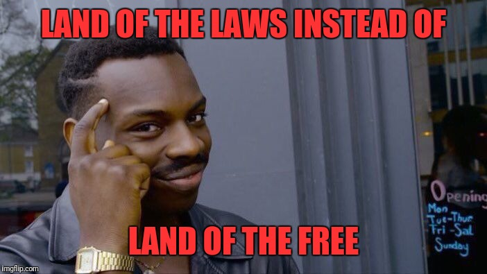 Roll Safe Think About It Meme | LAND OF THE LAWS INSTEAD OF LAND OF THE FREE | image tagged in memes,roll safe think about it | made w/ Imgflip meme maker
