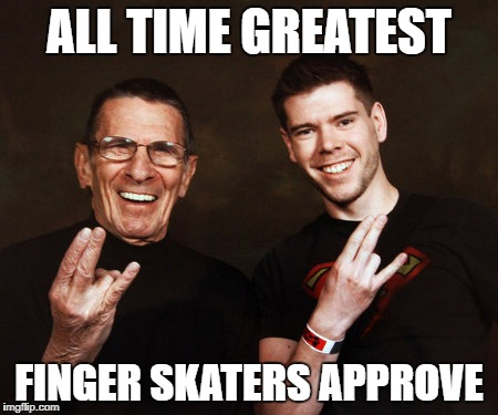 The Spocker | ALL TIME GREATEST FINGER SKATERS APPROVE | image tagged in funny,spock,shocker | made w/ Imgflip meme maker