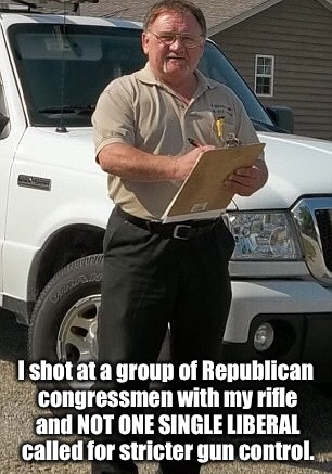 I shot at a group of Republican congressmen with my rifle and NOT ONE SINGLE LIBERAL called for stricter gun control. | image tagged in james t hodgkinson | made w/ Imgflip meme maker