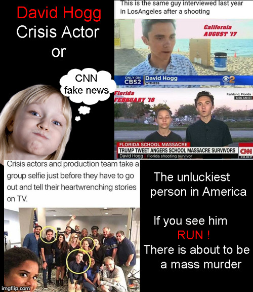 CNN's Crisis Actors | image tagged in cnn fake news,david hogg,crisis actors,current events,2nd amendment,politics lol | made w/ Imgflip meme maker