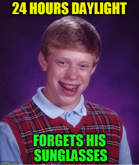 Bad Luck Brian Meme | 24 HOURS DAYLIGHT FORGETS HIS SUNGLASSES | image tagged in memes,bad luck brian | made w/ Imgflip meme maker