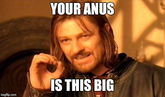 Your anus | YOUR ANUS IS THIS BIG | image tagged in memes,one does not simply,butthole memes,butthole meme,butthole,anus | made w/ Imgflip meme maker