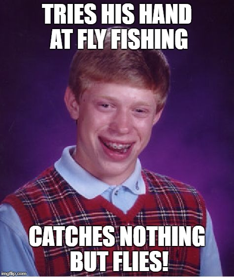 At least he caught something! | TRIES HIS HAND AT FLY FISHING CATCHES NOTHING BUT FLIES! | image tagged in memes,bad luck brian,fishing | made w/ Imgflip meme maker