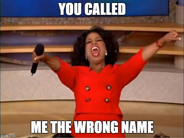 Oprah You Get A Meme | YOU CALLED ME THE WRONG NAME | image tagged in memes,oprah you get a | made w/ Imgflip meme maker