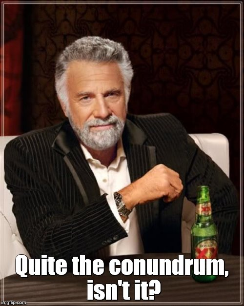 The Most Interesting Man In The World Meme | Quite the conundrum, isn't it? | image tagged in memes,the most interesting man in the world | made w/ Imgflip meme maker