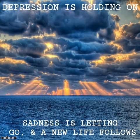 New Day | DEPRESSION IS HOLDING ON SADNESS IS LETTING GO, & A NEW LIFE FOLLOWS | image tagged in new day | made w/ Imgflip meme maker