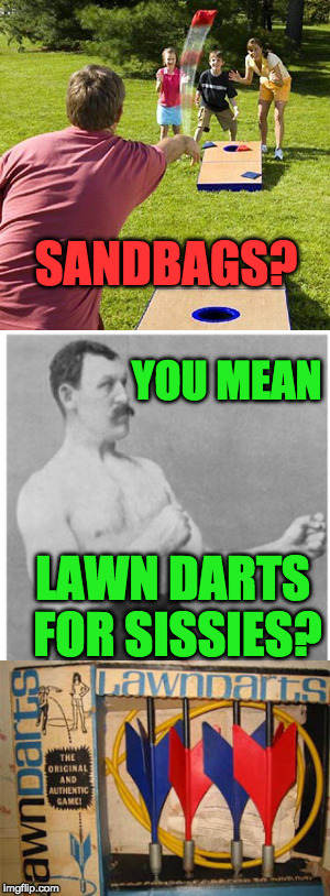 I Want To Play Lawn Darts With A Fence In The Middle |  SANDBAGS? YOU MEAN; LAWN DARTS FOR SISSIES? | image tagged in overly manly man,having fun,playing,backyard | made w/ Imgflip meme maker
