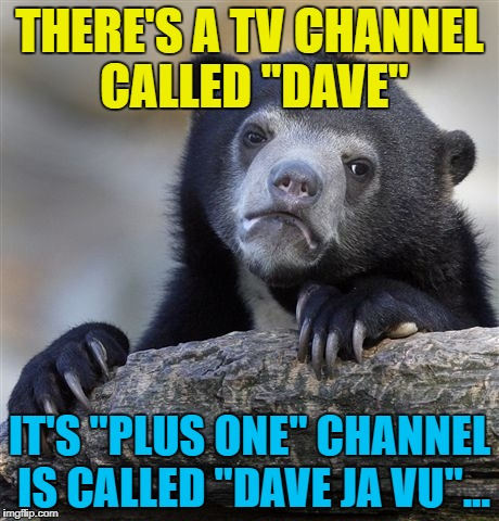 "Confession Bear Meme | THERE'S A TV CHANNEL CALLED ""DAVE"" IT'S ""PLUS ONE"" CHANNEL IS CALLED ""DAVE JA VU""... 