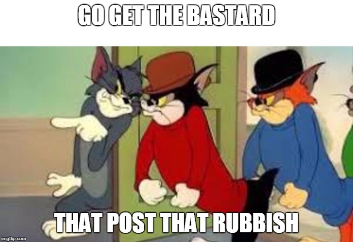 GO GET THE BASTARD THAT POST THAT RUBBISH | image tagged in tom and jerry goon | made w/ Imgflip meme maker