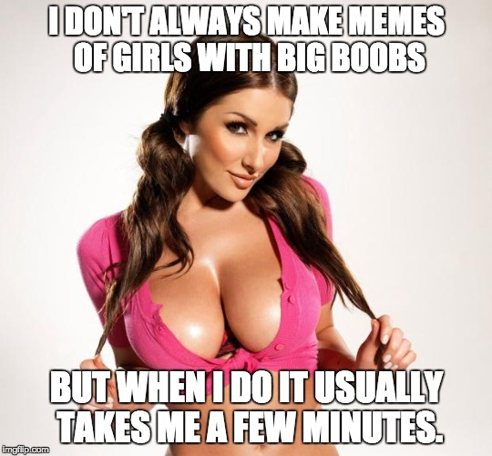 The world's most interesting uh? Meme | I DON'T ALWAYS MAKE MEMES OF GIRLS WITH BIG BOOBS BUT WHEN I DO IT USUALLY TAKES ME A FEW MINUTES. | image tagged in boobs,the most interesting man in the world,spanked | made w/ Imgflip meme maker