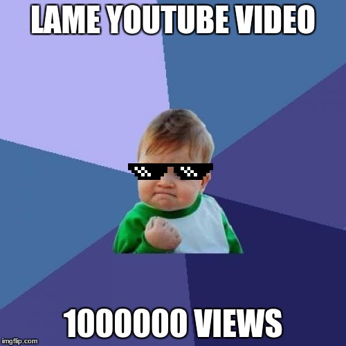 Success Kid Meme | LAME YOUTUBE VIDEO 1000000 VIEWS | image tagged in memes,success kid | made w/ Imgflip meme maker