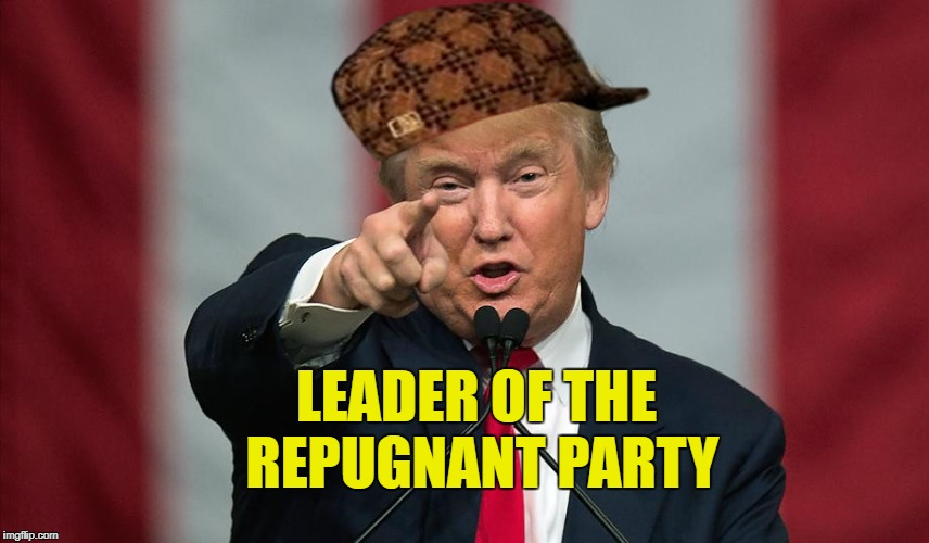 Repugnant Trump | LEADER OF THE REPUGNANT PARTY | image tagged in scumbag,donald trump,repugnant | made w/ Imgflip meme maker