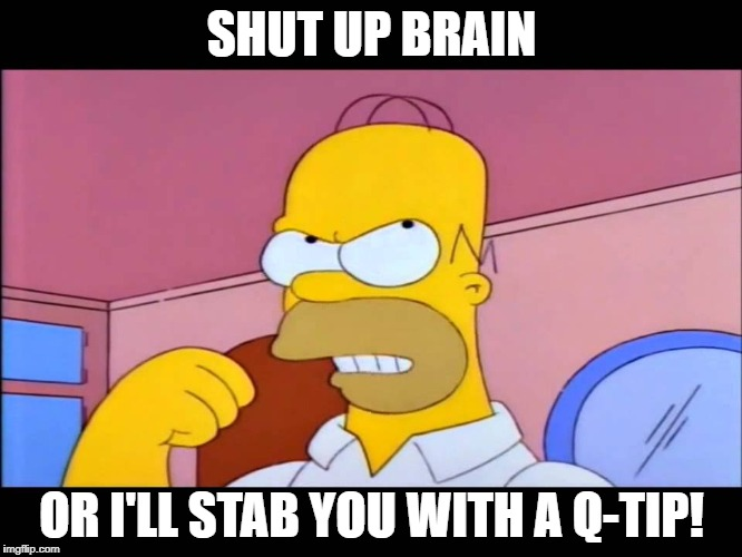SHUT UP BRAIN OR I'LL STAB YOU WITH A Q-TIP! | image tagged in shut up brain or i'll stab you with a q-tip! | made w/ Imgflip meme maker
