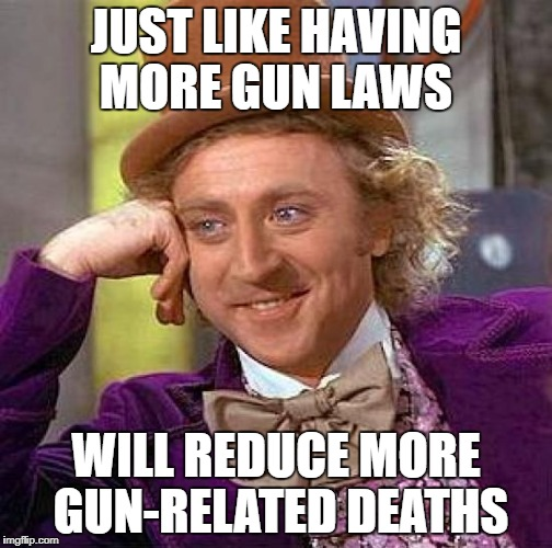 JUST LIKE HAVING MORE GUN LAWS WILL REDUCE MORE GUN-RELATED DEATHS | image tagged in memes,creepy condescending wonka | made w/ Imgflip meme maker