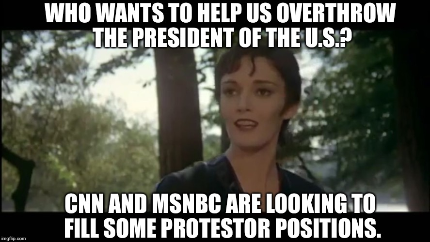 We also have some openings for Pepper Spray Associates and Scrotum Crushers | WHO WANTS TO HELP US OVERTHROW THE PRESIDENT OF THE U.S.? CNN AND MSNBC ARE LOOKING TO FILL SOME PROTESTOR POSITIONS. | image tagged in ursula,zod joins the democrates,the deep state gonad gobblers,superman less in seattle,dont meme me bro,come at meme bro | made w/ Imgflip meme maker