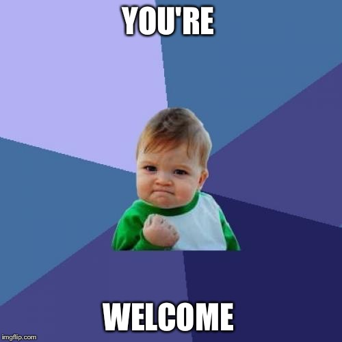 Success Kid Meme | YOU'RE WELCOME | image tagged in memes,success kid | made w/ Imgflip meme maker