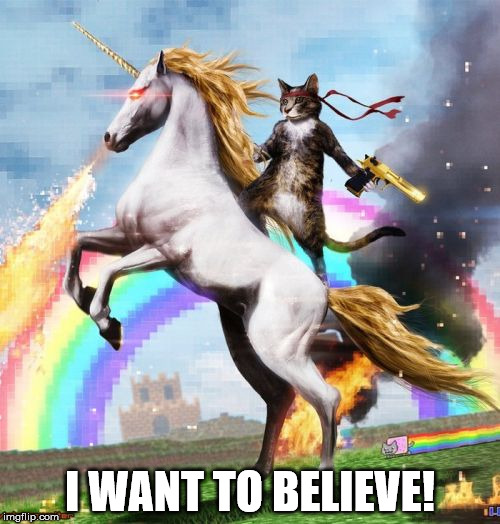 I WANT TO BELIEVE! | I WANT TO BELIEVE! | image tagged in memes,welcome to the internets,i want to believe,unicorn,cat,rainbow | made w/ Imgflip meme maker