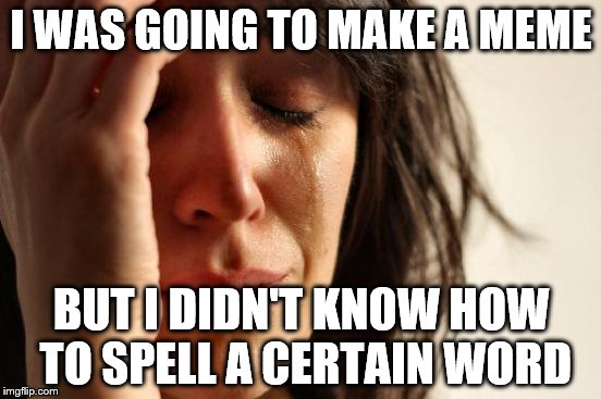 First World Problems Meme | I WAS GOING TO MAKE A MEME BUT I DIDN'T KNOW HOW TO SPELL A CERTAIN WORD | image tagged in memes,first world problems | made w/ Imgflip meme maker