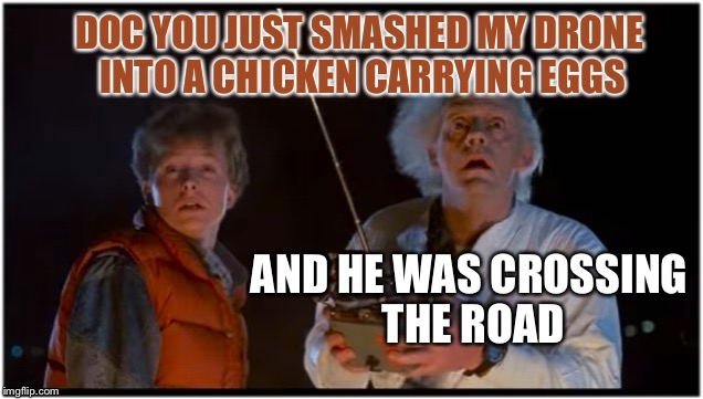 Great Commander Scott | DOC YOU JUST SMASHED MY DRONE INTO A CHICKEN CARRYING EGGS AND HE WAS CROSSING THE ROAD | image tagged in 2018 bttf,marty farty mcfart,dr emits brown fog,btttfff memes | made w/ Imgflip meme maker