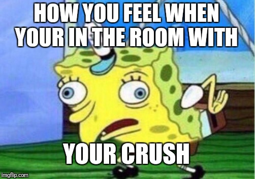 Mocking Spongebob Meme | HOW YOU FEEL WHEN YOUR IN THE ROOM WITH YOUR CRUSH | image tagged in memes,mocking spongebob | made w/ Imgflip meme maker